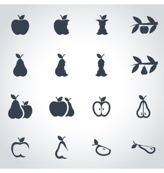 black apple and pear icon set vector image