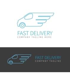 Blue delivery van contour logo vector image
