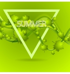 Bright green summer leaves wavy background vector image