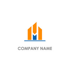 Building abstract m initial logo vector