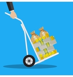 Business man with a hand truck full of money vector image