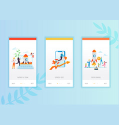 Business startup onboarding screens template vector