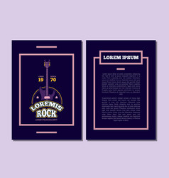 card flyer with retro rock music sound vector image