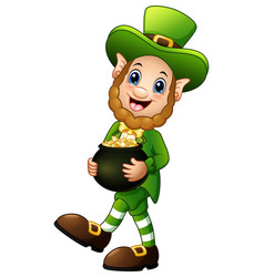 cartoon leprechaun holding a pot of gold vector image