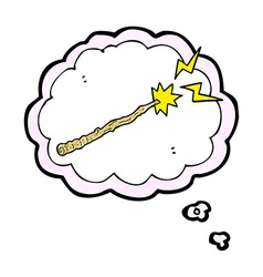 Cartoon magic wand with thought bubble vector
