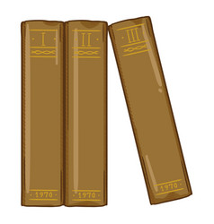 cartoon - spines three old brown books vector image