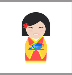 Chinese woman in flat style vector