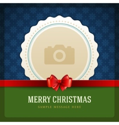 Christmas retro greeting card and place for photo vector