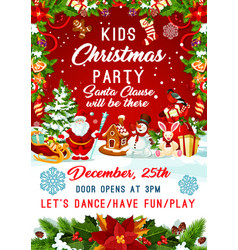 Christmas santa gifts tree party poster vector