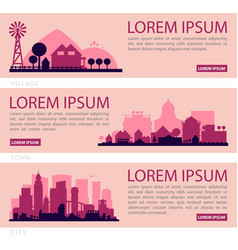 City skyline colored sets city districts banners vector