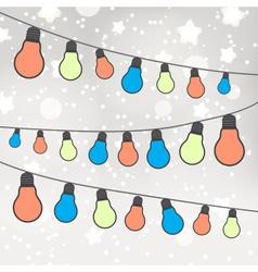 Color light bulbs on gray bokeh background eps10 vector