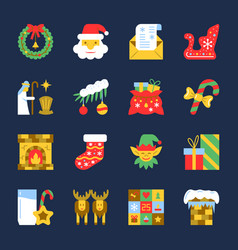 Colorful cristmas new year flat icon set vector