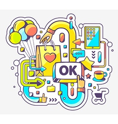 colorful of shopping online and OK button on vector image
