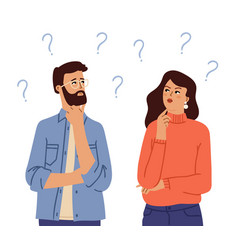 couple thinking confused people doubt girl man vector image