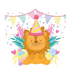 cute and little lion with party hat and garden vector image