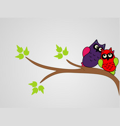 Cute collection bright owls vector