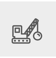 Demolition trailer thin line icon vector