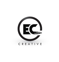 Ec brush letter logo design creative brushed vector