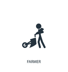 Farmer with plowing machine icon simple gardening vector