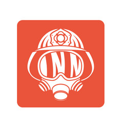 Firefighter helmet with mask block line style icon vector