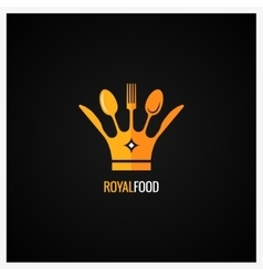 Food Logo Fork and Knife Crown Background vector image