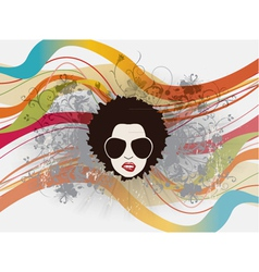 Funky face with floral vector