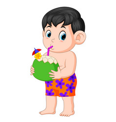 Funny boy drinking coconut water vector