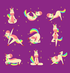 Funny unicorn practicing yoga exercises set vector