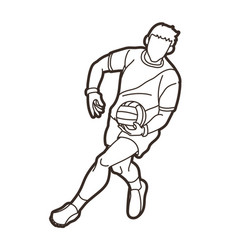 Gaelic football male player action vector