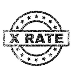 Grunge textured x rate stamp seal vector