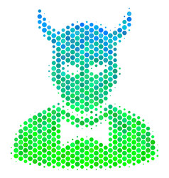 halftone blue-green devil icon vector image