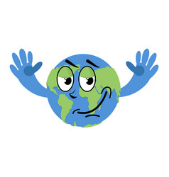 Happy earth isolated good planet on white vector