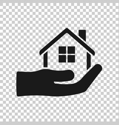 Home care icon in transparent style hand hold vector