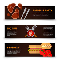 Horizontal banners bbq burgers and grill tongs on vector