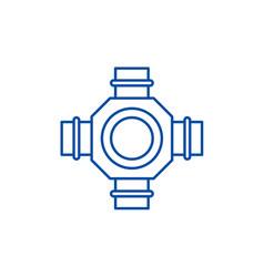 Hub line icon concept hub flat symbol vector