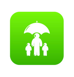 Insurance family icon green vector