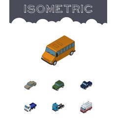 Isometric transport set of lorry armored truck vector
