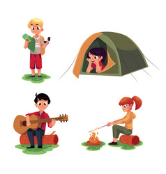 Kids studying map in camping tent playing guitar vector