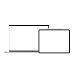 Laptop computer and horizontal tablet with stylus vector