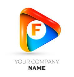 letter f symbol in the colorful triangle vector image