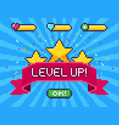 Level up screen pixel video game achievement vector