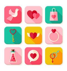 Love Valentine Day Square App Icons Set vector