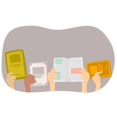 many hands holding blank book and text books vector image