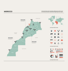 Map morocco country map with division cities vector