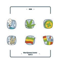 marijuana attributes icons set two vector image