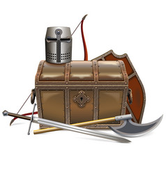 Medieval chest with knight armor vector