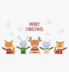 merry christmas celebration cute animals with ugly vector image