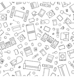 mess of outline icons house appliance seamless vector image