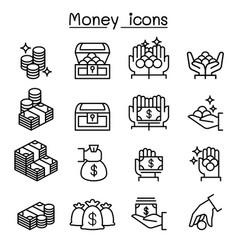money coin cash icon set in thin line style vector image