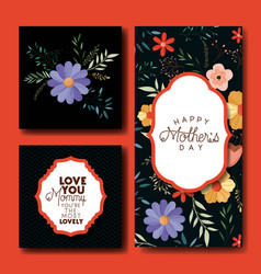 mothers day hand made font postcards set vector image